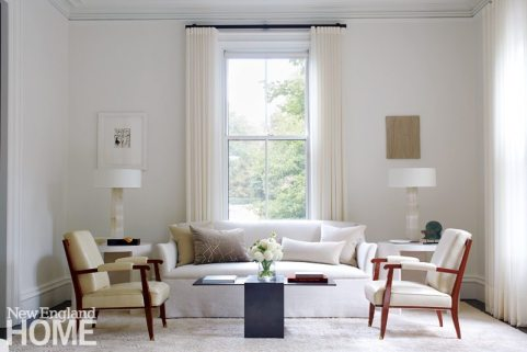 Contemporary Boston town home neutral living room with white upholstery