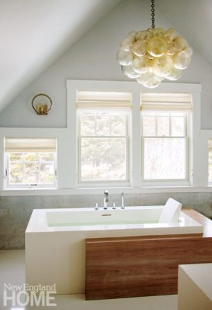 transitional style bathroom rectangular freestanding tub