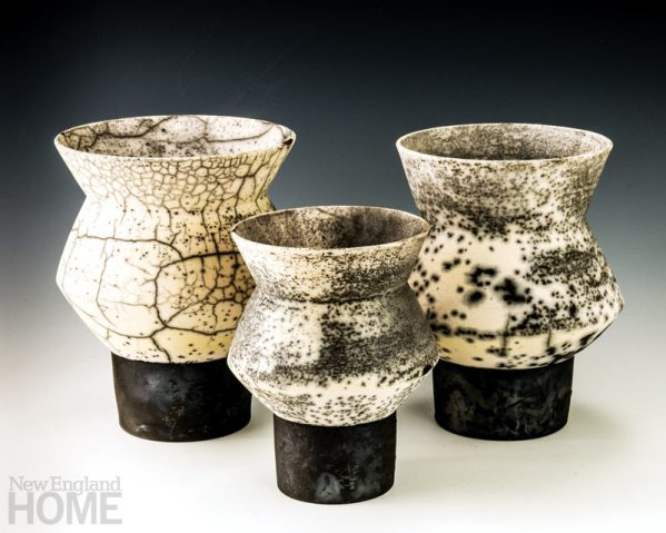 """A trio of Zig Zag bowls, wheel-thrown and fired using the naked raku technique, 11""""H × 9""""W, 9″H × 7″W, and 10″H × 8″W"""