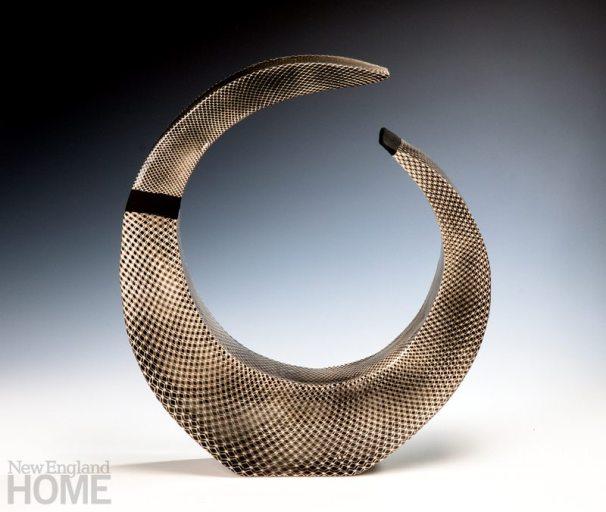 Crescent sculpture, white stoneware, 16″H