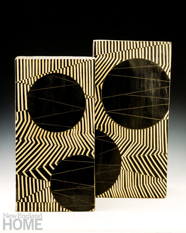 A pair of sculptures, stoneware slab and black slip, 20½″H × 9½″W × 7″D and 23″H × 11″W