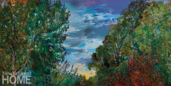 """Rim of Sunlight and Trees (2016–2017), diptych, oil on canvas, 50""""H × 100""""W"""