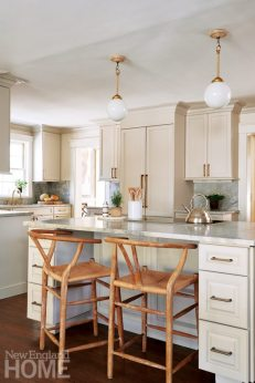 The kitchen's marble surfaces sport a leathered finish, which translates to less maintenance.