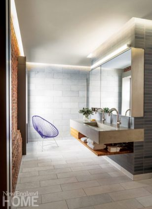 Contemporary master bathroom with floating vanity