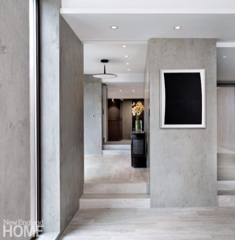 modern hallway with Neolith walls