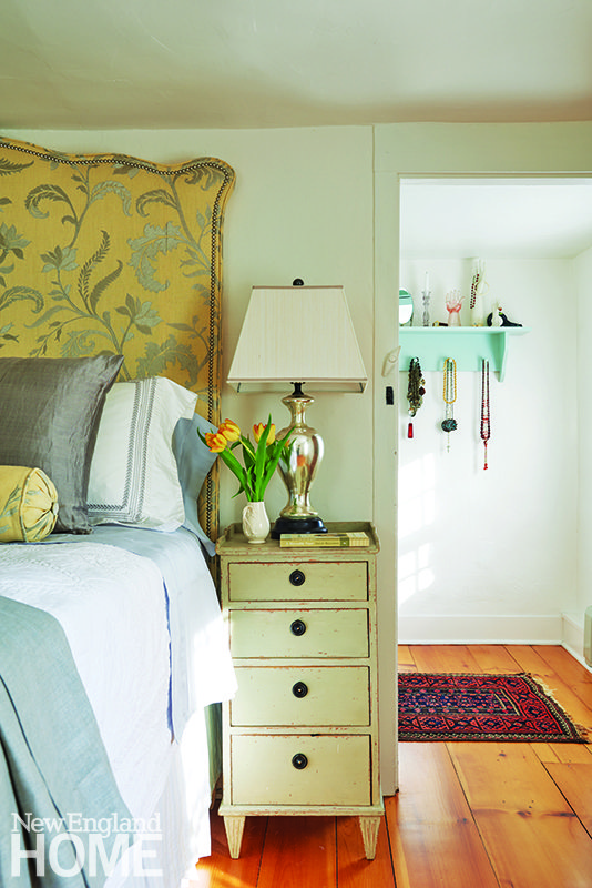 Bedroom with custom headboard