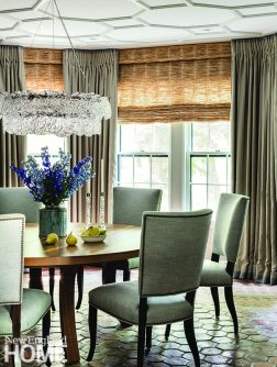 Dining chairs with upholstered nailhead trim