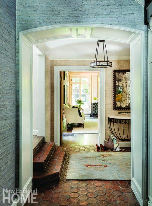 Entry Brookline home designed by Paula Daher