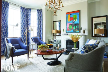 The apartment looks and feels substantially roomier than its 943 square feet because the designers maximized every inch of the reconfigured space. In the living room, they accentuated the tall windows and chose furnishings that are light and sophisticated. A mix of traditional and modern pieces reflects the disparate sensibilities of their clients.