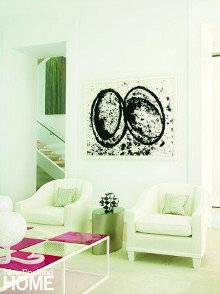 Living room featuring artwork by RIchard Serra