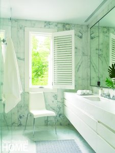 White and marble contemporary bathroom