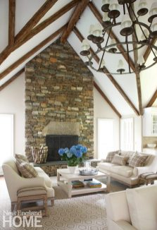 Great room with stone fireplace