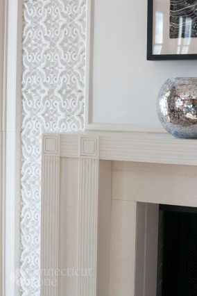 Detail of a contemporary Chesney fireplace mantel