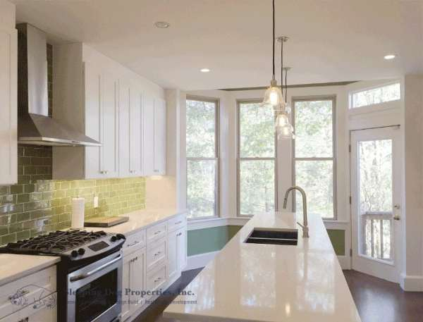 White kitchen in Jamaica Plain
