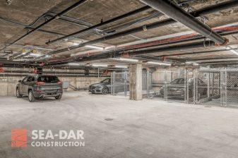 The extensive underground garage has room for fourteen vehicles.