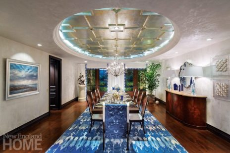 A rug from the Java collection grounds this show-house dining room by Southern California designer Beverly Stadler.