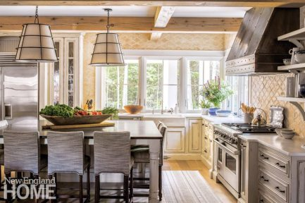 Kitchen with rustic wood beams