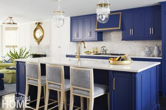 The kitchen's cheery cerulean cabinets make you forget you're in the basement.