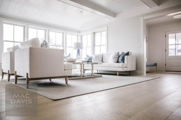 "Shown here Engineered Select White Oak Floors Pre-Finished in ""Skiff."""