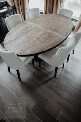 "Another view of European rustic white oak floors pre-finished in ""Coskata."""