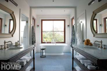 Master bathroom with penny-round tile