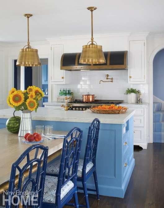 Kitchen with blue island