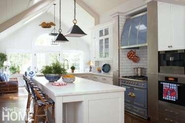 Kitchen with blue La Cornue range