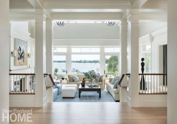 Elegant Cape Cod living room with coastal views