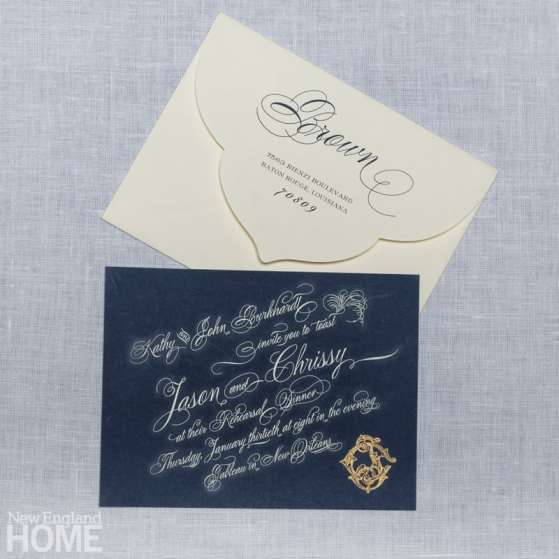 A charming rehearsal dinner invitation created for a New Orleans wedding.