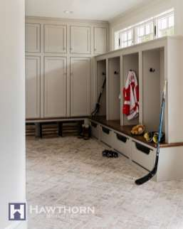 The mudroom is command central for the sports-loving family.