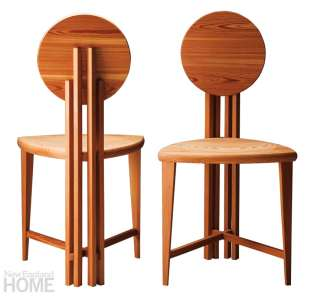 Circle Back chairs, shown here in cherry.