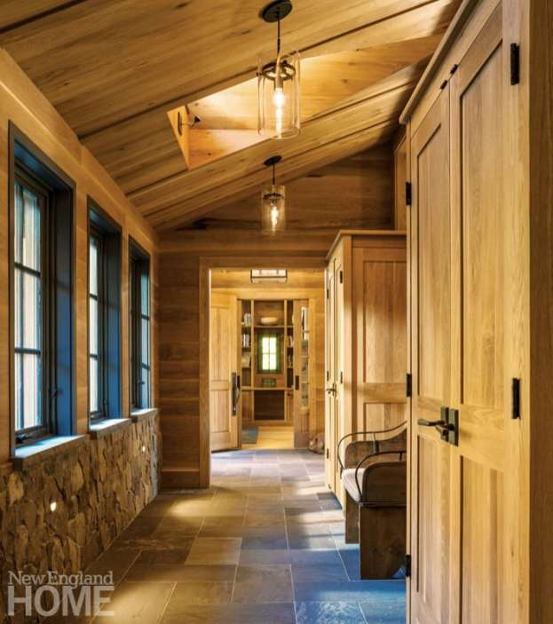 Vermont shingle style home mudroom
