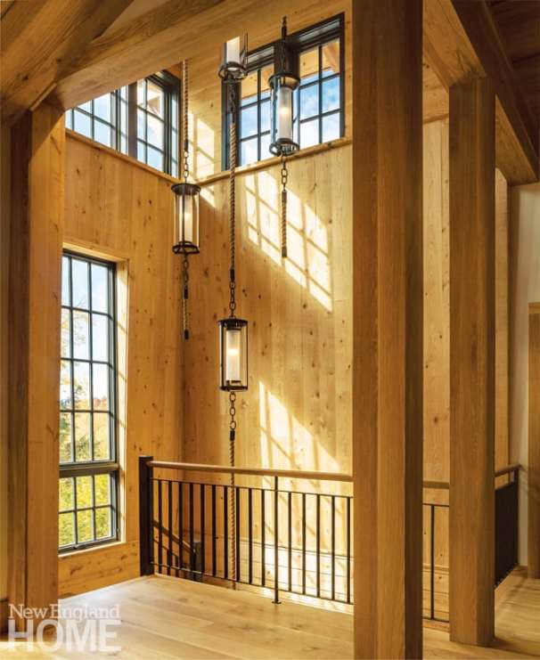 Vermont shingle style home stairwell