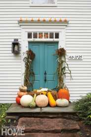 Front door with fall decor