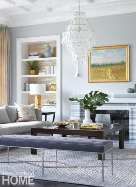 Elegant living room with gold and gray.