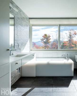White marble master bathroom