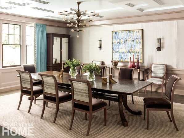 Brookline dining room with decorative ceiling