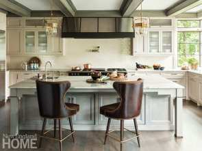 Traditional kitchen with leather stools