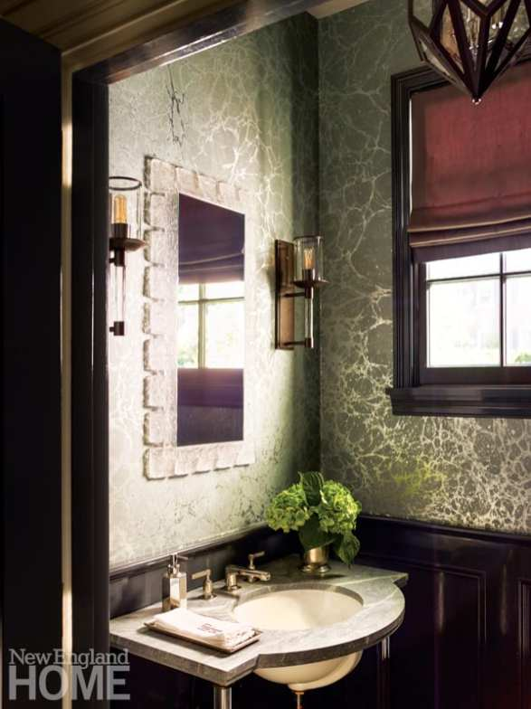 Formal powder room with dark wood