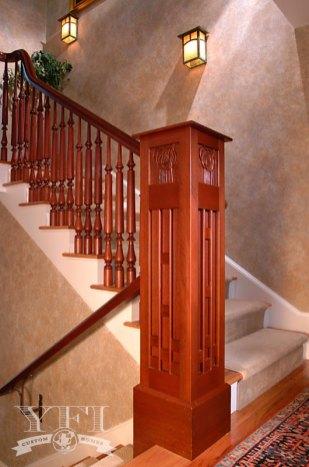newel post inspired by Scottish architect Rennie Mackintosh.