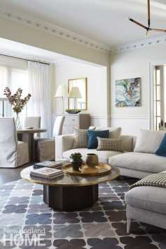 A favorite gathering space, the family room includes Michael Mazur's painting White Water and a game table for hours of fun.