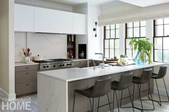 To ensure the kitchen counters stay clear, Irving devised a bonanza of storage.
