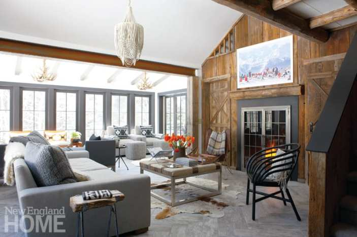 Room addition, fireplace, great room, chandelier