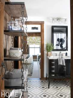 Jack-and-Jill bathroom, open shelving, floor tiles,