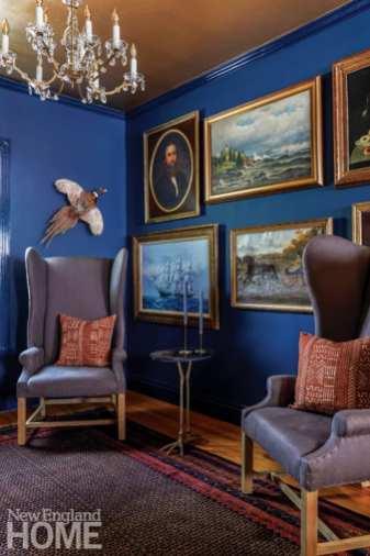 dining room, art, paintings, Hague Blue