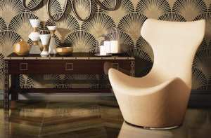Art-deco-inspired wall tiles in gold on black