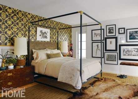 master bedroom, elk-skin rug, wallpaper
