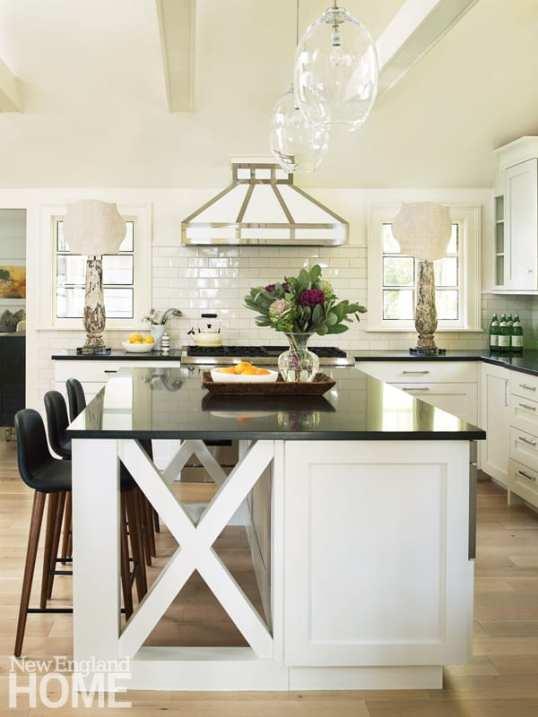 kitchen opens up to den