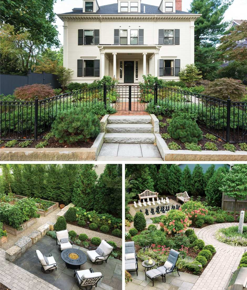 The exterior of a house in Cambridge plus two aerial shots of the backyard featuring a fire pit, lounge chairs and a life-size chess board.