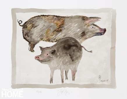 Drawing of gray pigs